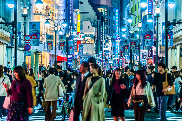 Crowd of people at night, Shibuya, Tokyo
